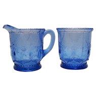 Rare Vintage Indiana Tumbler & Goblet Co. EAPG Cobalt Blue Sugar & Creamer Set in Teardrop & Tassel Pattern 1893-1903 Good Vintage Condition