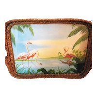 Vintage Wicker Tray with Flamingos Under Glass 1920-30s Good Condition  FREE SHIPPING