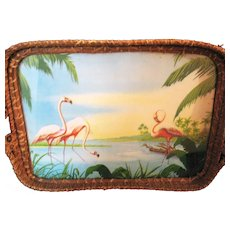 Vintage Wicker Tray with Flamingos Under Glass 1920-30s Good Condition