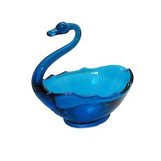 Vintage Viking Cobalt Blue Glass Swan Candy/Nut Dish 1960-70s Good Condition