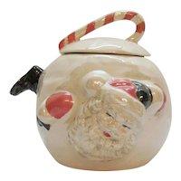 Vintage Ceramic Santa Claus Cookie Jar 1960-70s Iridescent Surface Good Condition