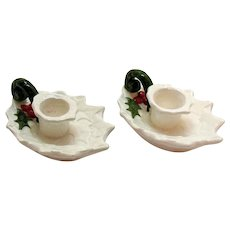 Vintage Pair Lefton Ceramic White Holly Candle Holders 1970-71  #6052  Good Condition
