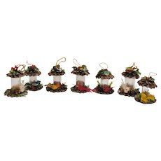 Vintage Set of  7  Pine Cone Bird Feeder Christmas Ornaments 1960-70s Good Vintage Condition