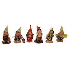 Vintage Six Pine Cone Christmas Ornaments Gnomes Playing Instruments 1950s Good Vintage Condition