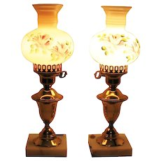Vintage Set of 1950s Bedroom Lamps Hand Painted Shades Brass Stem Marble Base Good Condition
