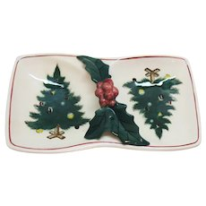 Vintage 1950s Lefton Handled Nut/Candy Dish Christmas Tree Pattern