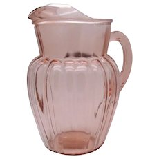 Vintage Hazel Atlas Pink Depression Glass Mellon Patterned Pitcher Ice Lip 64 Oz. Good Condition