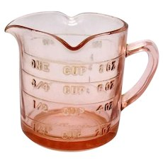 Vintage Hazel Atlas Pink Depression Glass 3 Spout Kellogg's Measuring Cup