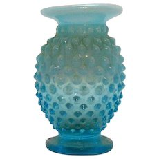Vintage Fenton Miniature Hobnail Vase in Opalescent Blue 1939-55 Good Condition