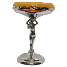 Vintage Farberware Compote Chrome Stem with Nude Woman Cambridge Insert 1932-65