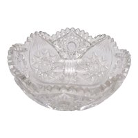 Vintage Unmarked Cut Glass Bowl Good Vintage Condition