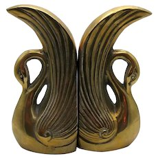 Vintage  Pair of Brass Swan bookends 1950s Good Vintage Condition