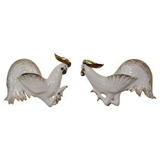 Vintage Pair of Large  Ceramic Fighting Roosters Wall Pockets 1940-50s
