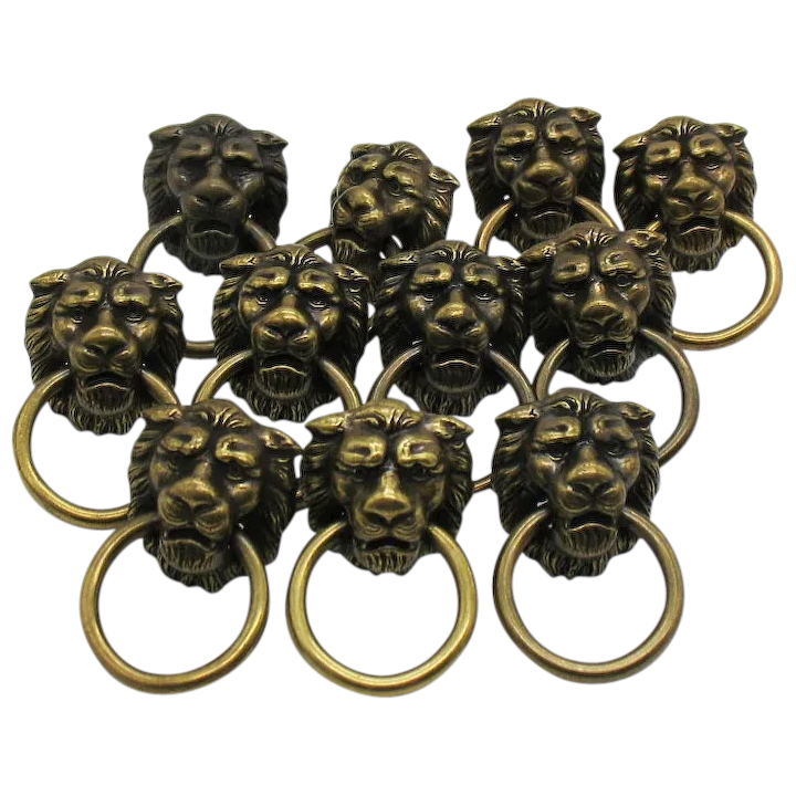Vintage 11 Metal Figural Lion Head Drawer Pulls Good Condition