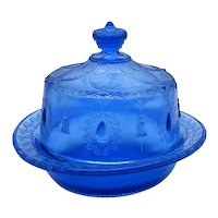 Very Rare EAPG by Indiana Tumbler & Goblet Co. Cobalt Blue Covered Butter Dish 1893-1903