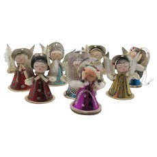 Eight Vintage Coned Shaped Christmas Tree Angels 1950s Vintage Condition