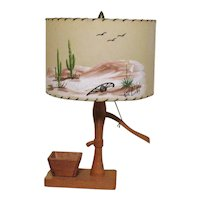Vintage Western Pump Table Lamp 1950s Fiberglass Signed Shade Works Good Condition