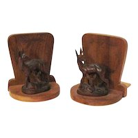 Vintage Wooden Hand Carved Deer Bookends 1950-60s Good Condition