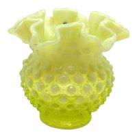 Vintage Rare Fenton Hobnail Yellow Double Crimped Vase 1941-59  Good Condition