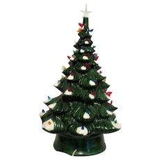 Vintage 1970s Ceramic Christmas Tree Faux Plastic Lights Good Condition