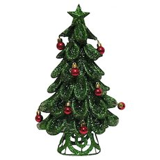 Vintage Wire Mesh Christmas Tree with Glitter and Ornaments 1960-70s Good Condition