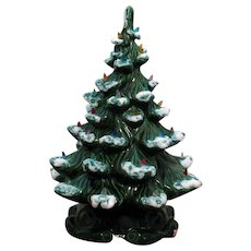 Vintage Ceramic Christmas Tree Faux Lights Lighted Base 1970s Good Condition