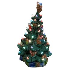 Vintage Ceramic Christmas Tree with Faux Lights Lighted Base Mice in the Tree 1970s Good Condition