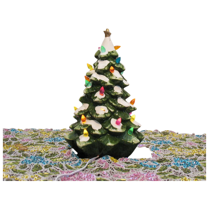 Ceramic Christmas Tree With Lights.Vintage Ceramic Christmas Tree Faux Lights Lighted Base 1970s Good Condition