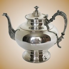 Vintage 4 Cup Teapot Silver Plated Over Copper 1950-60s Good Condition