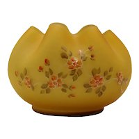 Vintage Fenton Special Order For L.G. Wright Satin Honey Amber Overlay White Decorated Rose Bowl 1960-70s Good Condition