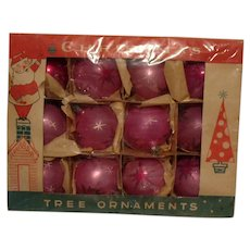 Vintage 12 Pink Polish Christmas Ornaments 1950s Good Condition