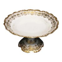 Vintage J.P. Pouyat Limoges Footed Compote 24K Gold Gilt 1890-1932 Good Condition