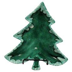 Vintage Ceramic Green Christmas Tree Dish 1968 Good Condition