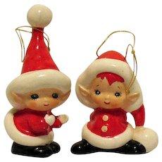 Vintage Lefton Ceramic Santakins Christmas Tree Ornaments 1950-60s Good Vintage Condition