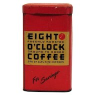 Vintage Eight O'Clock Coffee Metal Still Bank 1950s Vintage Condition