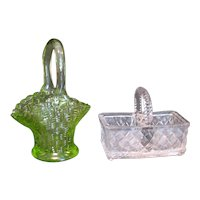 Vintage Green & Crystal Glass Baskets Weave Design 1960s Good Condition