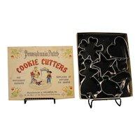 Vintage Pennsylvania Dutch Set of Cookie Cutters Tin  Original box 1950-60s Good Condition