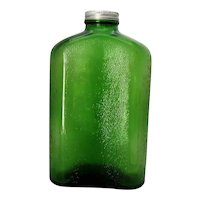 Vintage Forest Green Water Jug Zinc Lid 1930-40s Good Condition