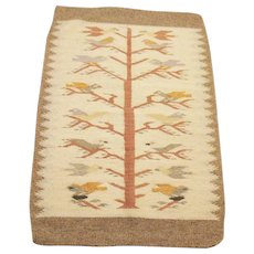 Vintage Native American Navajo Flat Weave Hand Woven Wool Rug 1930s Tree of Life Pattern Good Condition