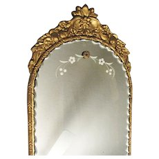Vintage Scalloped Edge Wall Mirror 1920-30s Rosettes Gesso over Wood Base Reverse Etched Good Condition
