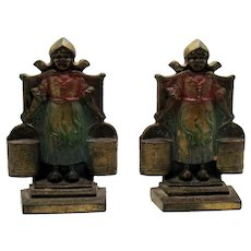 Vintage Cast Iron Dutch Woman Bookends 1920-30s Good Vintage Condition