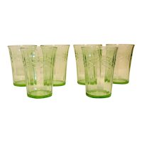 Vintage Anchor Hocking 6 Green Depression Glass Tumblers Pattern #621 Good Condition
