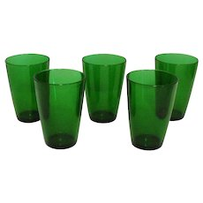 Five Vintage Anchor Hocking Forest Green Tumblers 1940-60s Good Condition