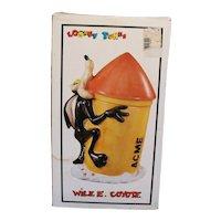 Vintage Wile E. Coyote Ceramic Cookie Jar 1993 Original Box Good Condition