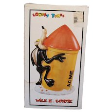 Vintage Wile E. Coyote Ceramic Cookie Jar 1993 Original Box Good Condition