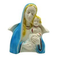 Vintage Ceramic Madonna & Child Planter American Bisque Possible Maker 1950-60s Good Condition