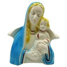 Vintage Ceramic Madonna & Child Planter American Bisque Possible Maker 1950-60s Good Condition