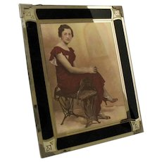Vintage Art Deco Reverse Painted Picture Frame in Good Vintage Condition