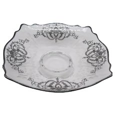 Vintage Crystal Bowl with Sterling Silver Overlay 1930s with Free Shipping