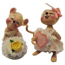 Two Vintage Annalee Mice Dolls Birthday Girl & Valentine Girl 1990s Good Vintage Condition